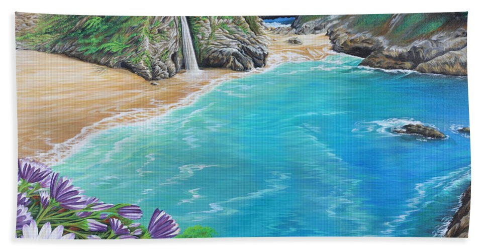 Beach Hand Towel featuring the painting Mcway Falls by Jane Girardot