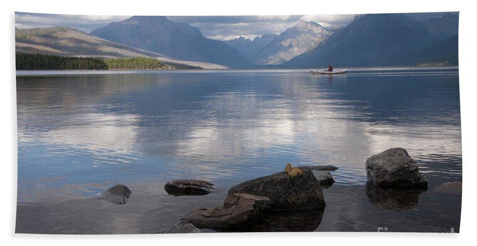 Mcdonald Lake Bath Sheet featuring the photograph Mcdonald Lake by Gary Beeler