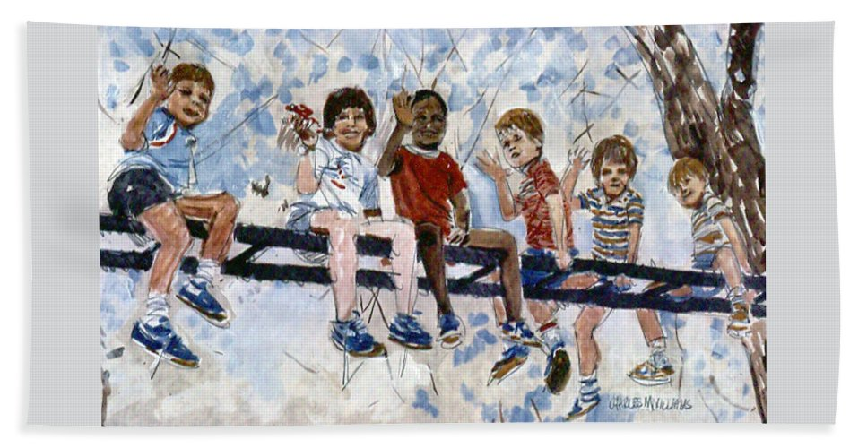 Boys Bath Sheet featuring the mixed media Me And My Friends by Charles M Williams