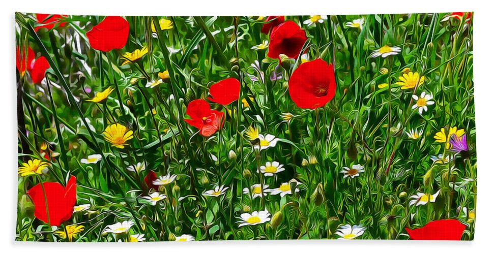 Meadow Flowers Hand Towel featuring the digital art Meadow Flowers - Digital Oil by Mary Machare
