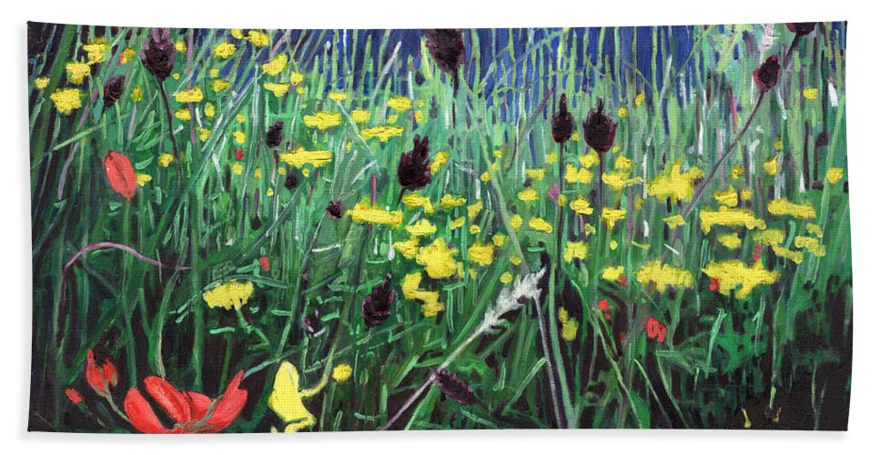 Meadow Hand Towel featuring the painting Meadow Glory by Helen White
