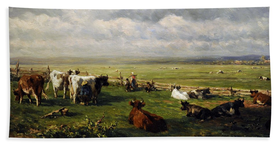 19th Century Bath Towel featuring the photograph Meadow Landscape With Cattle, C. 1880, By Willem Roelofs 1822-1897 by Bridgeman Images