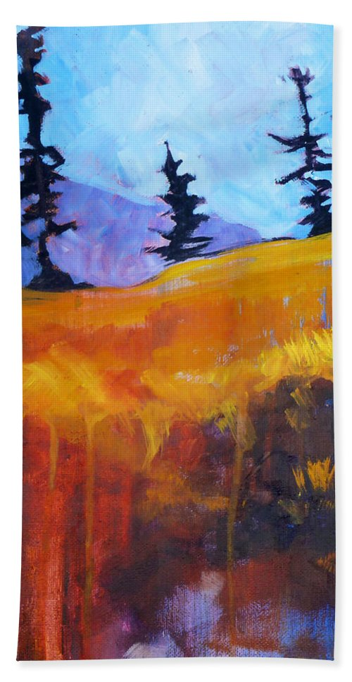Abstract Bath Towel featuring the painting Meadow Mountain by Nancy Merkle