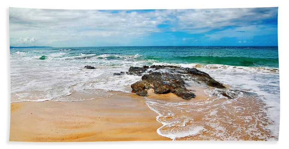 Photography Bath Sheet featuring the photograph Meandering Waves On Tropical Beach by Kaye Menner