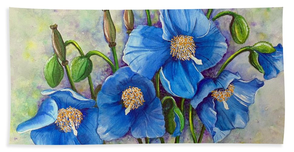 Blue Hymalayan Poppy Bath Sheet featuring the painting MECONOPSIS  Himalayan Blue Poppy by Karin Dawn Kelshall- Best