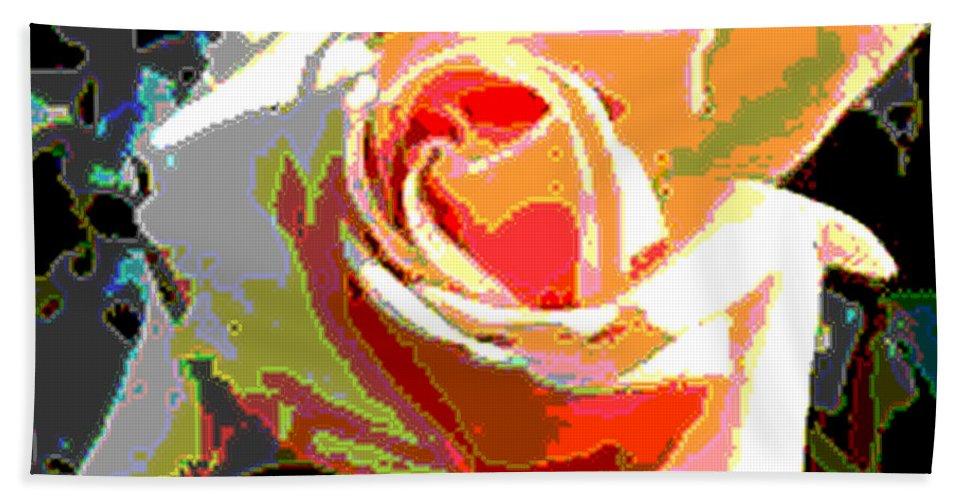 Digital Hand Towel featuring the digital art Medallion Rose by Alys Caviness-Gober