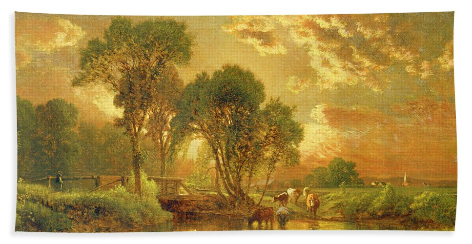 Inness Bath Towel featuring the painting Medfield Massachusetts by Inness