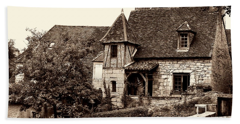 Medieval Cottage Hand Towel featuring the photograph Medieval Cottage In Sarlat Sepia by Weston Westmoreland