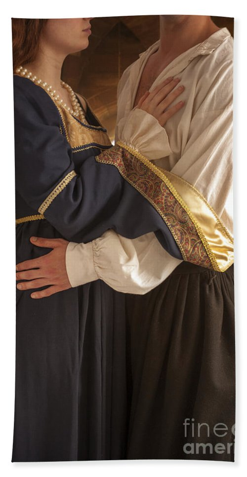 Medieval Hand Towel featuring the photograph Medieval Couple Embracing by Lee Avison