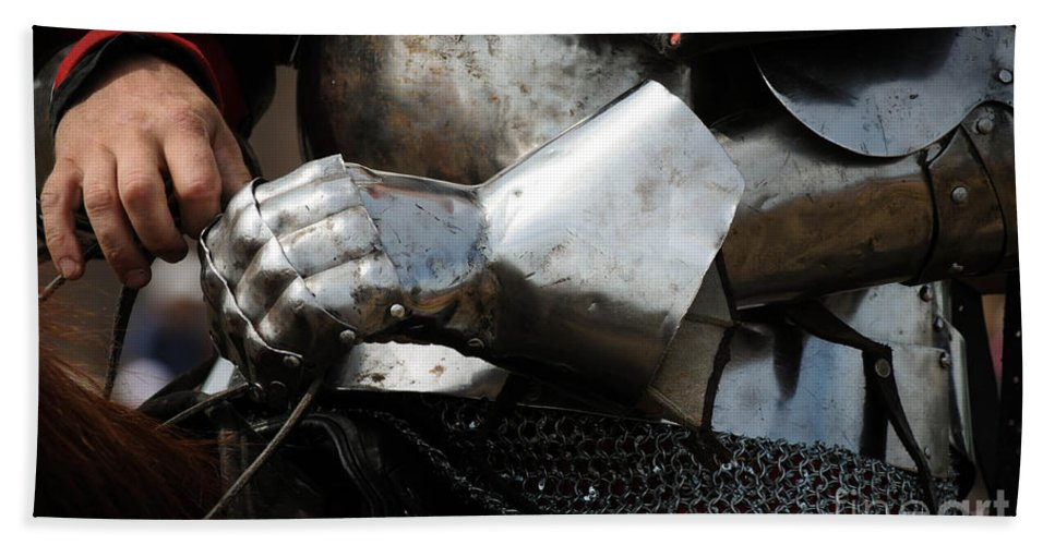 Glove Bath Sheet featuring the photograph Medieval Faire Ready To Ride by Vivian Christopher