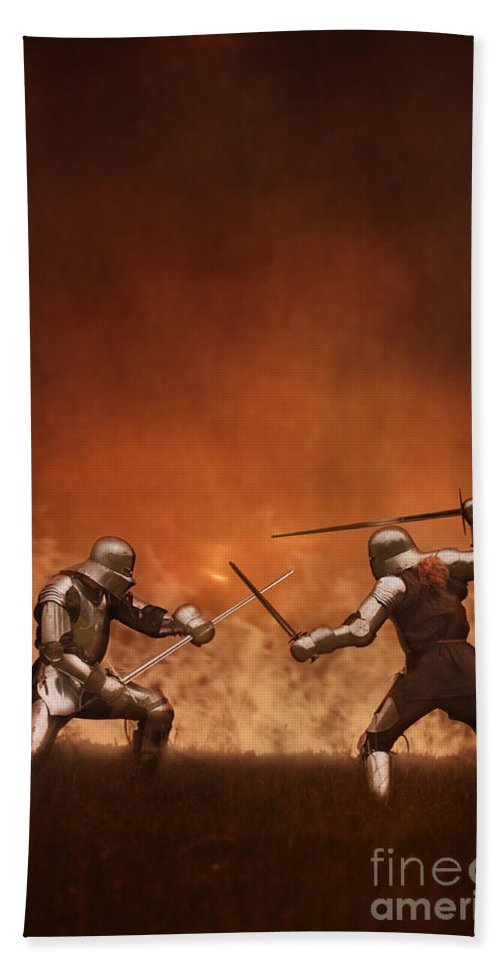 Knight Hand Towel featuring the photograph Medieval Knights In Armour Fighting With Swords by Lee Avison