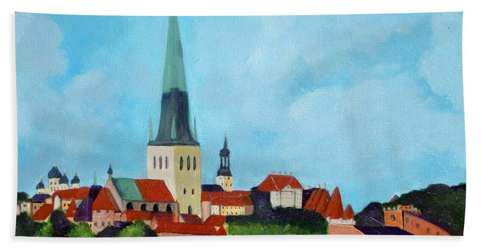 Tallinn Bath Towel featuring the painting Medieval Tallinn by Laurie Morgan