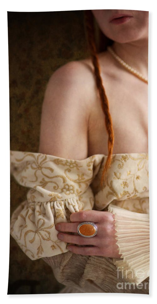 Medieval Hand Towel featuring the photograph Medieval Tudor Woman by Lee Avison
