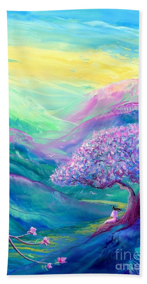 Meditation Bath Towel featuring the painting Meditation in Mauve by Jane Small