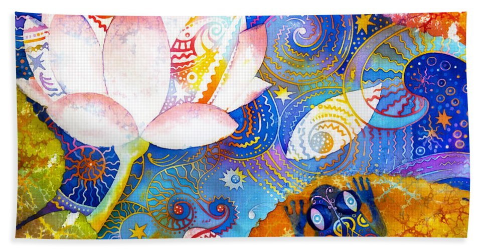 Meditation Hand Towel featuring the tapestry - textile Meditation by Kate Krivoshey