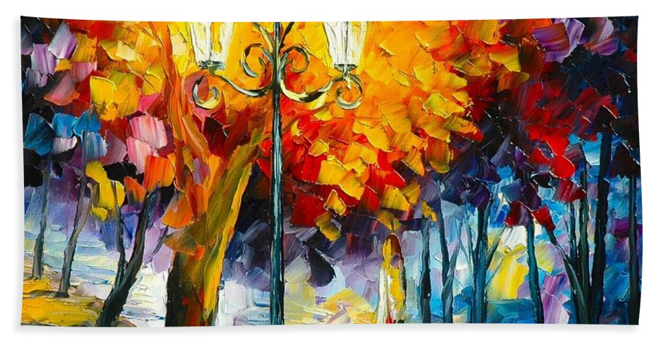Meditation Golden Fall Path Afremov Painting Palette Knife Art Handmade Surreal Abstract Oil Landscape Original Realism Unique Special Life Color Beauty Admiring Light Reflection Piece Renown Authenticity Smooth Certificate Colorful Beauty Perspective Golden Treasure Hand Towel featuring the painting Meditation by Leonid Afremov