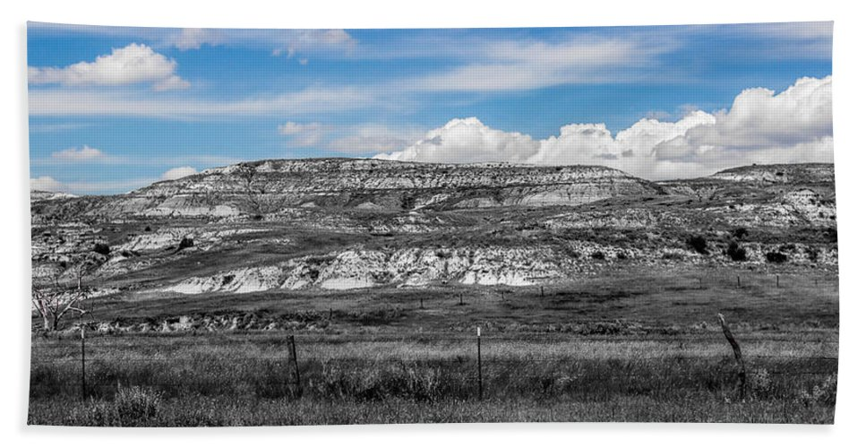 Badlands Hand Towel featuring the photograph Medora 2 by Chad Rowe