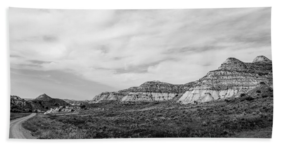 Badlands Hand Towel featuring the photograph Medora 29 by Chad Rowe