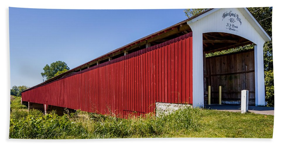 Indiana Hand Towel featuring the photograph Medora Covered Bridge by Ron Pate