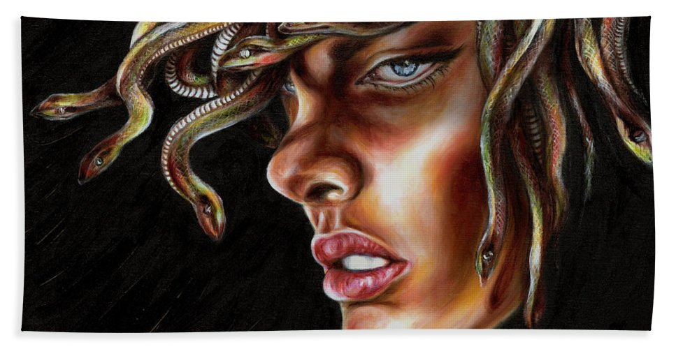 Medusa Hand Towel featuring the painting Medusa No. One by Hiroko Sakai