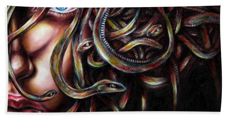 Medusa Bath Towel featuring the painting Medusa No. Two by Hiroko Sakai