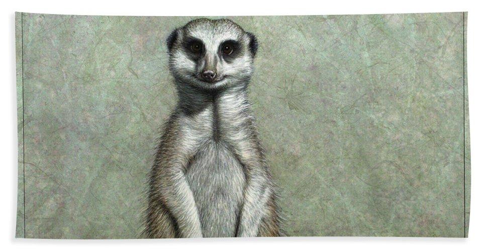 Meerkat Bath Towel featuring the painting Meerkat by James W Johnson