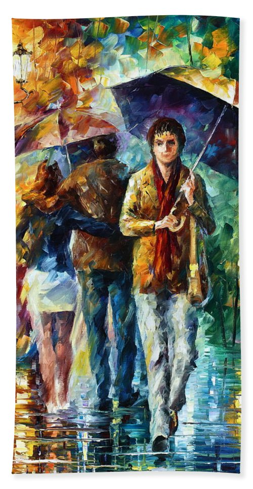 Umbrella Hand Towel featuring the painting Meeting My Ex by Leonid Afremov