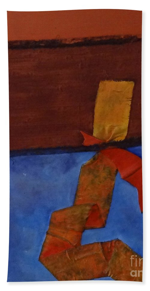 Abstract Hand Towel featuring the painting Meeting Point by Barbara Oertli