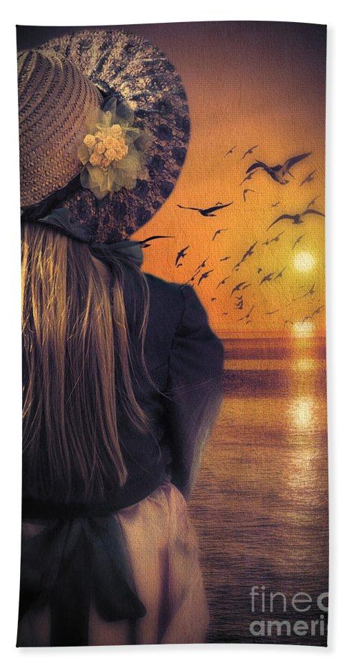 Girl Bath Sheet featuring the photograph Meeting Sunrise by Svetlana Sewell