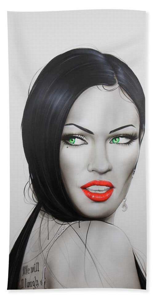 Megan Fox Hand Towel featuring the painting Megan by Christian Chapman Art