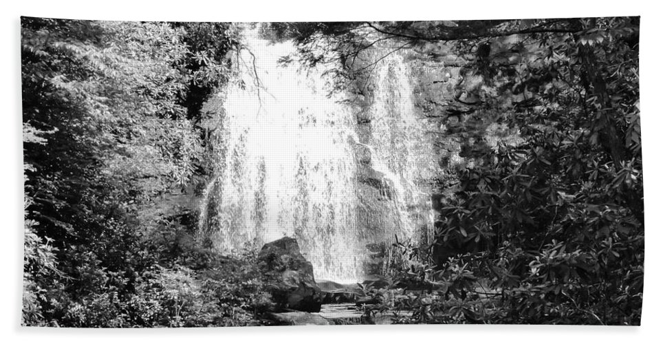 Meigs Falls Bath Sheet featuring the photograph Meigs Falls Smoky Mountains Bw by Cynthia Woods