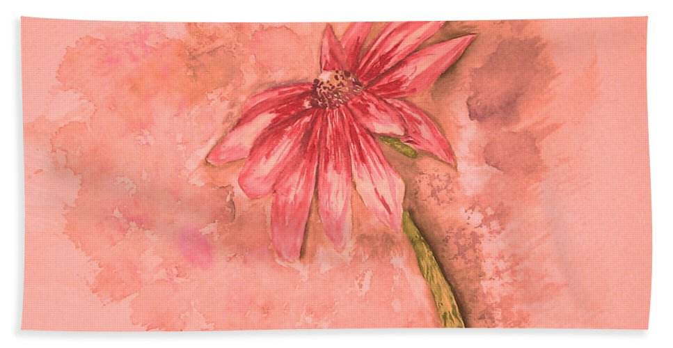 Watercolor Bath Towel featuring the painting Melancholoy by Crystal Hubbard