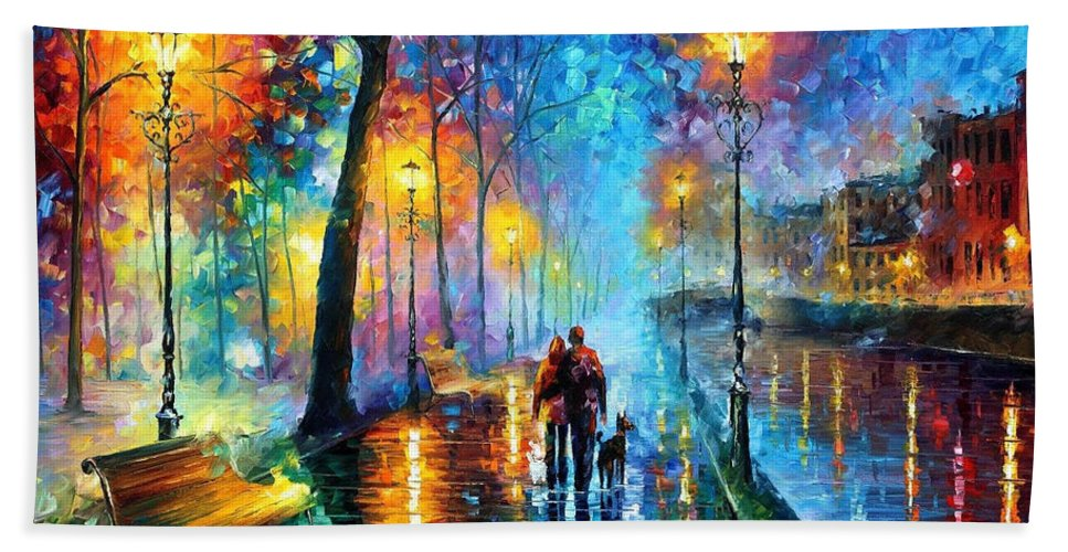 Leonid Afremov Hand Towel featuring the painting Melody Of The Night - Palette Knife Landscape Oil Painting On Canvas By Leonid Afremov by Leonid Afremov