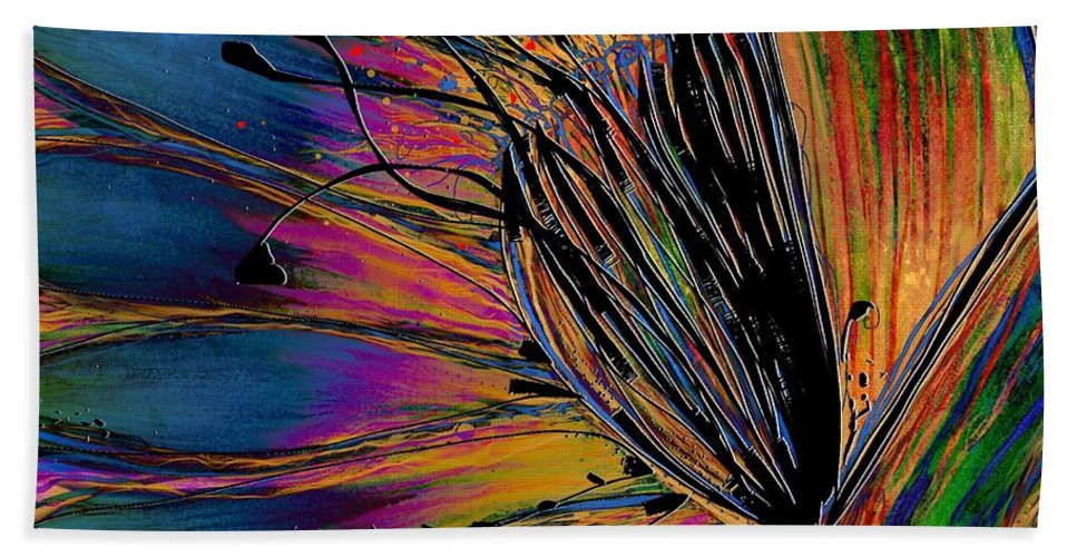 Abstract Hand Towel featuring the digital art Melted Crayons by Mary Eichert