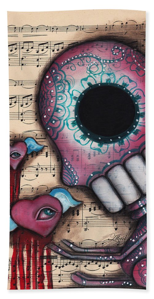 Day Of The Dead Bath Sheet featuring the painting Melting Hearts by Abril Andrade Griffith