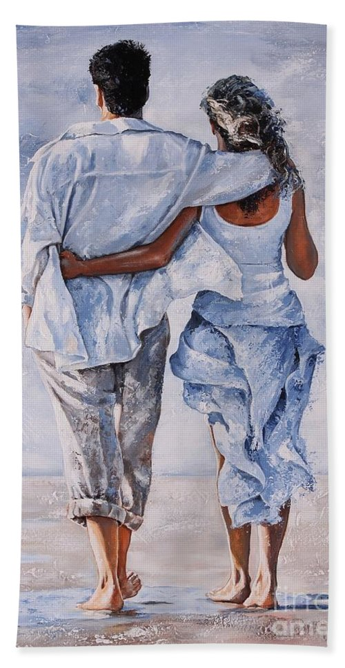 Couple Bath Towel featuring the painting Memories Of Love by Emerico Imre Toth