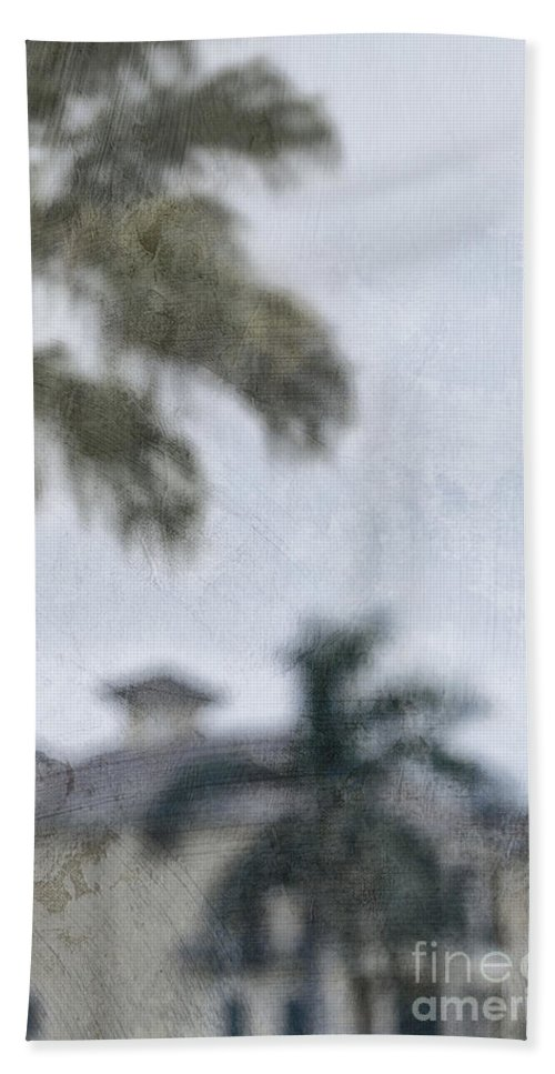 Summer; House; Home; Outside; Outdoors; Florida; Floridian; Mansion; Palm; Tree; Palm Tree; Sky; Nobody; Expensive; Retreat; Tower; Naples; Palace; Architecture; Roof; Windows; Blurry; Defocused Hand Towel featuring the photograph Memories Of The Tropics by Margie Hurwich
