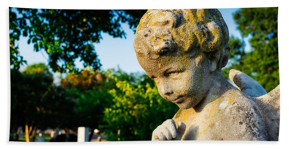 Memphis Bath Sheet featuring the photograph Memphis Elmwood Cemetery - Boy Angel by Jon Woodhams