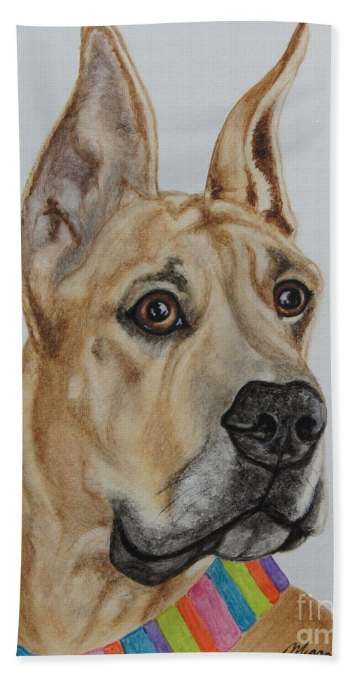 Great Dane Hand Towel featuring the painting Memphis The Great Dane by Megan Cohen