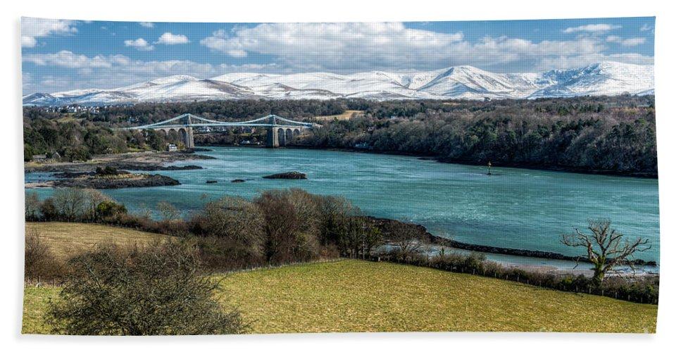 Menai Bridge Bath Sheet featuring the photograph Menai Bridge 1819 by Adrian Evans