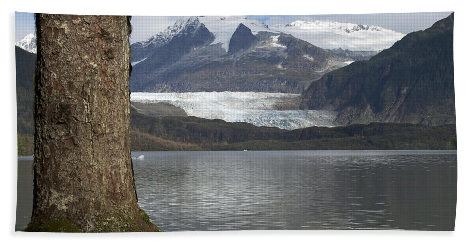 Glacier Hand Towel featuring the photograph Mendenhall Glacier In Late Fall by Cathy Mahnke