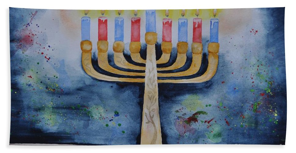 Menorah Hand Towel featuring the painting Menorah by Sally Rice
