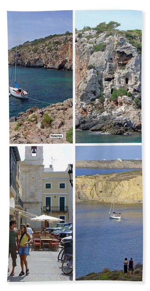 Balearic Islands Hand Towel featuring the photograph Menorca Collage 02 - Labelled by Rod Johnson