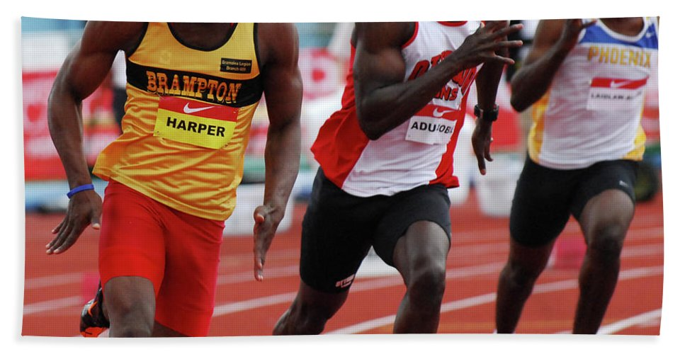 Canadian Track And Field National Championships 2011 Hand Towel featuring the photograph Mens 200 Meter by Bob Christopher