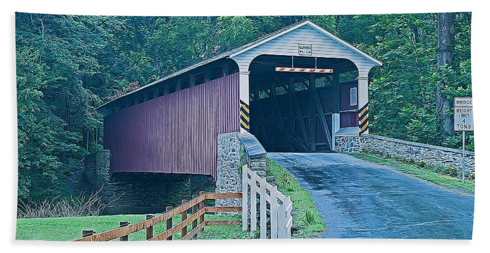 Mercer's Mill Bath Sheet featuring the photograph Mercer's Mill Covered Bridge by Michael Porchik