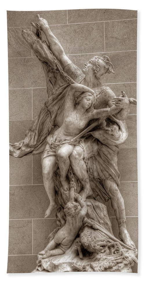 Paris Louver Sculpture Bath Sheet featuring the photograph Mercury And Psyche by Michael Kirk