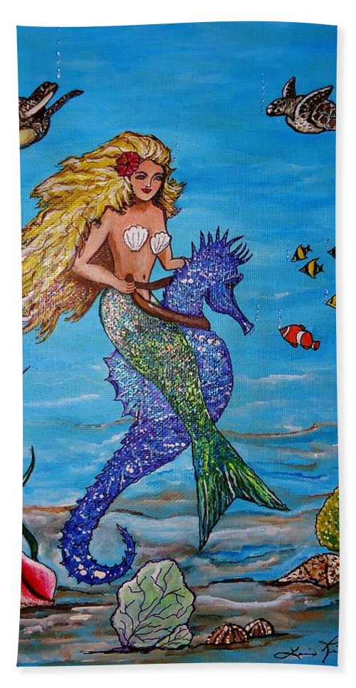Seahorse Bath Sheet featuring the painting Mermaid And Seahorse Morning Swim by Lois  Rivera