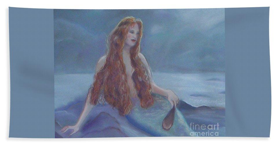 Mermaid Bath Sheet featuring the drawing Mermaid In Moonlight by Julie Brugh Riffey