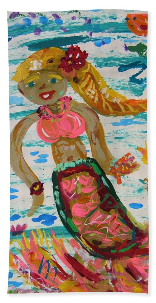 Mermaid Hand Towel featuring the painting Mermaid Mermaid by Mary Carol Williams