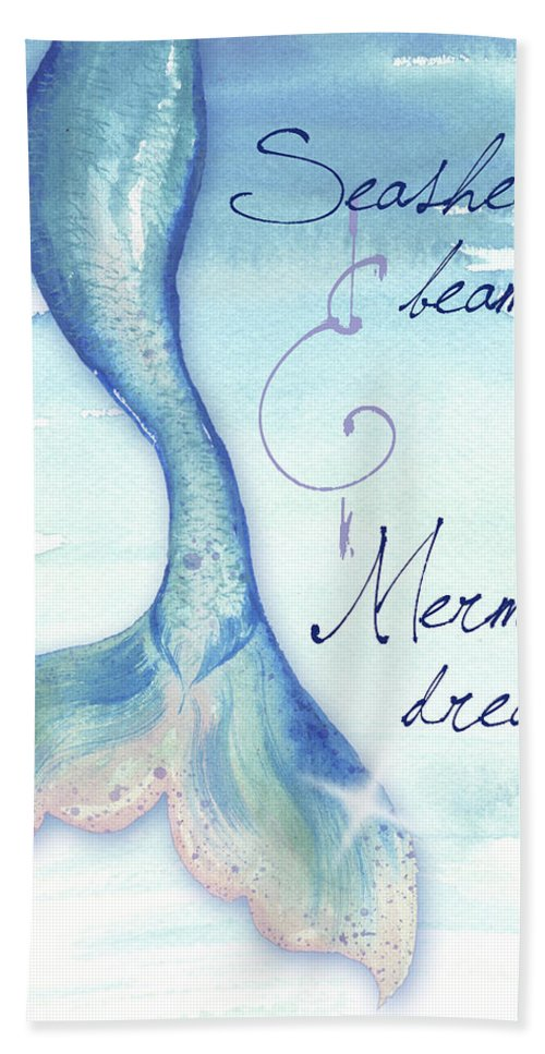 Mermaid Bath Towel featuring the painting Mermaid Tail I by Elizabeth Medley